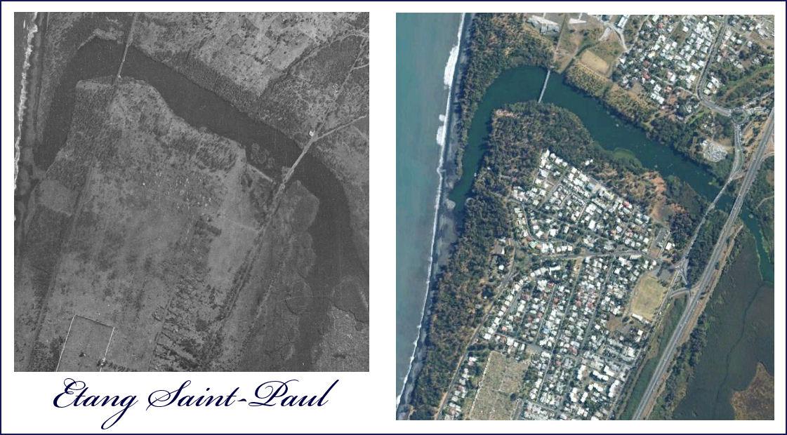 Etang Saint Paul années 1950 et 2010