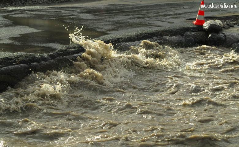arrivée de la rivière au niveau du radier du Ouaki